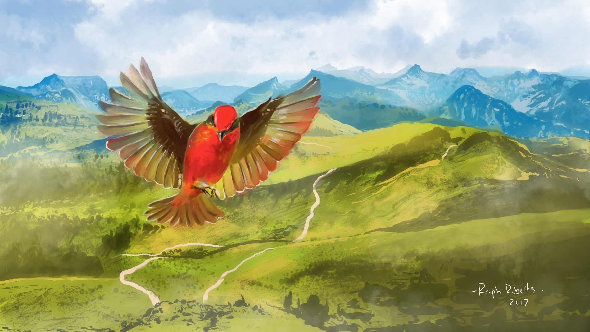 A painting of a red bird
